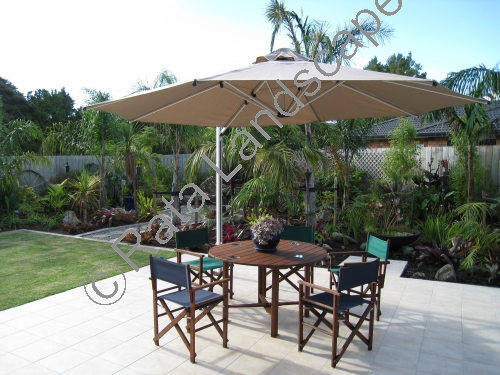 The new patio and sun umbrella